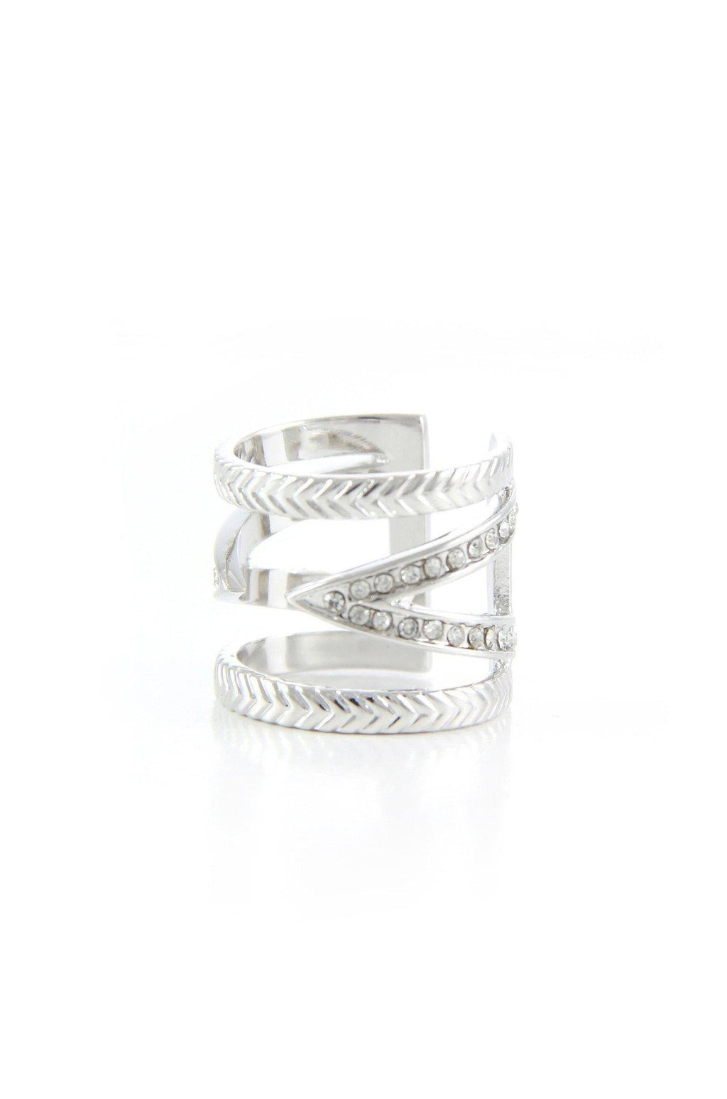 Break The Pattern Ring in Rhodium