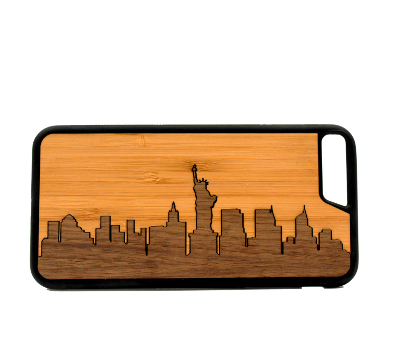 Slim Wooden Phone Case | New York Skyline Traveler (Bamboo Sky) - The Gallant Way
