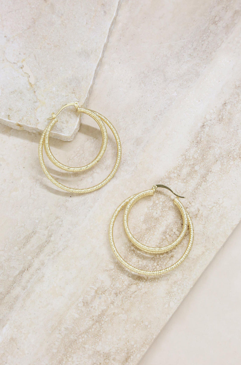 Cage Hoop Earrings in Gold