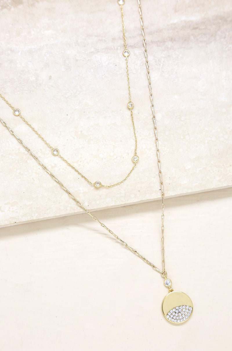 Crystal Dipped 18k Gold Plated Layered Pendant Necklace Set - The Gallant Way