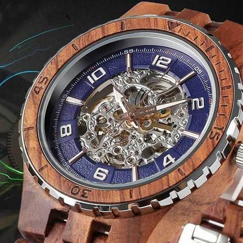 Men's Wood Watch Kosso Self-Winding Transparent