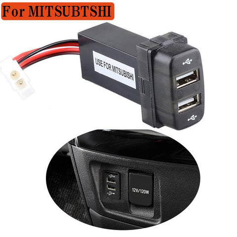 2 Port Car 2.1A Dual USB Charger USB Port Outlet DC 12V 2100mA For Mitsubishi