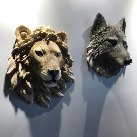 American Simulation Animal Head Wall Decor Hotel Home Livingroom Wolf Lion Bear Leopard Wall Hanging Wall Mural Ornament R2702