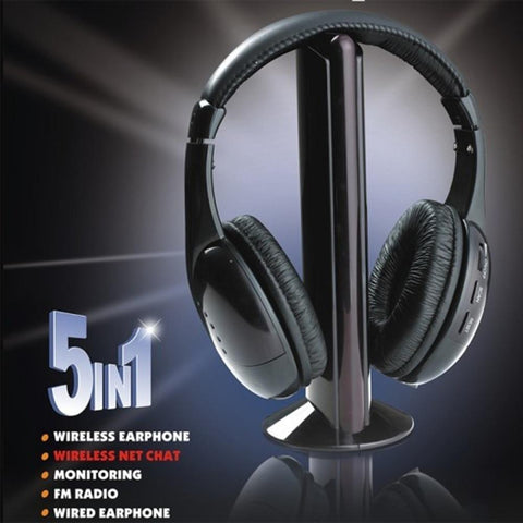 Black 5 in 1 car Wireless Cordless Headphone Headset Earphone for PC TV Radio Wireless Headphone Gaming Headphone