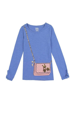 Girls aéropostale 4-6x long sleeve fashion top with 3d flap purse pocket - dress4less.com