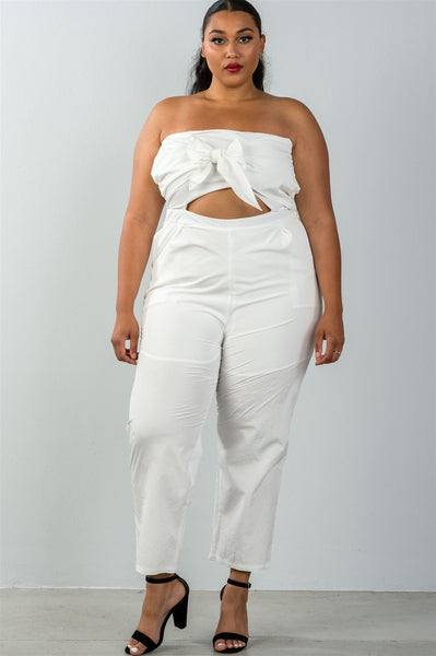 Ladies fashion plus size bow detail at front strapless jumpsuit palazzo pants - dress4less.com