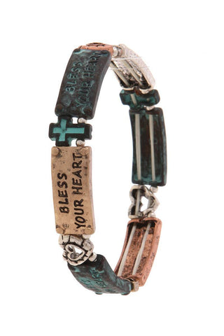 """bless your heart"" engraved stretch bracelet - dress4less.com"