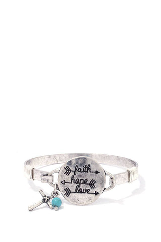 """faith Hope Love"" Engraved Metal Bracelet - dress4less.com"