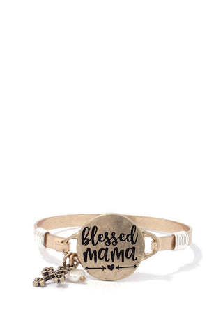 """blessed Mama"" Engraved Metal Bracelet - dress4less.com"