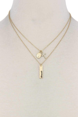 """blessed"" Engraved Metal Bar Cross Charm Multi Layered Necklace - dress4less.com"