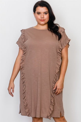 Plus Size Ruffle Front Midi Dress - dress4less.com