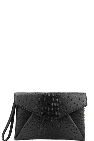 Designer Croc Texture Envelope Clutch With Chain - dress4less.com