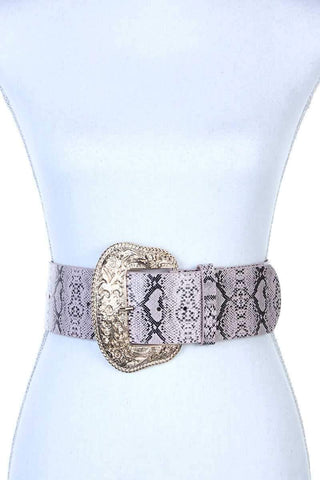 Filigree Wide Metal Buckle Animal Print Pattern Pu Leather Belt - dress4less.com
