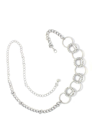 Rhinestone Metal Ring Linked Metal Chain Belt - dress4less.com