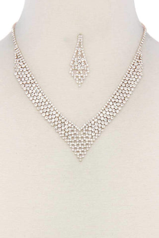 V Shape Rhinestone Necklace - dress4less.com