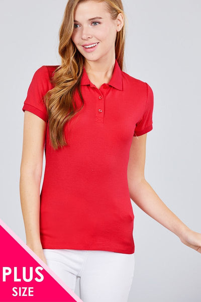Classic Pique Spandex Polo Top - dress4less.com