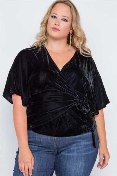 Plus Size Velvet Short Sleeve Side Tie Top - dress4less.com