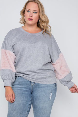 Plus Size Faux Fur Pink Sleeves Sweater - dress4less.com
