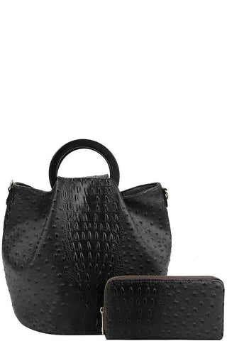 2in1 Stylish Croco Pattern Chic Satchel With Long Strap - dress4less.com