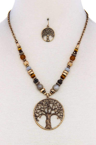 Trendy Bead And Tree Pendant Necklace And Earring Set - dress4less.com