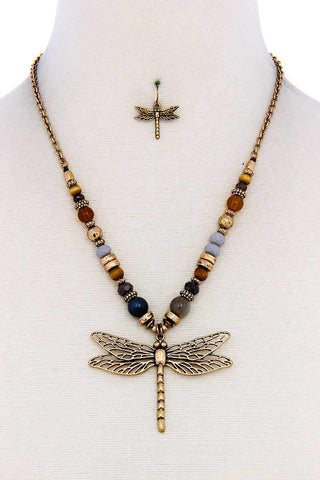 Fashion Bead Dragonfly Pendant Necklace And Earring Set - dress4less.com