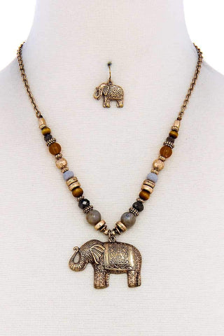 Designer Trendy Elephant Pendant Necklace And Earring Set - dress4less.com