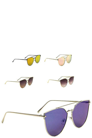 Cat Eye Aviators Color Mirror Sunglasses - dress4less.com