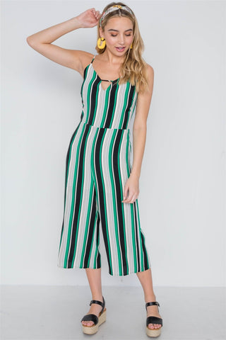 Green Stripe Cami Wide Leg Capri Jumpsuit - dress4less.com