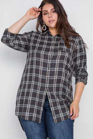 Plus Size Green Taupe Plaid Long Sleeve Top - dress4less.com