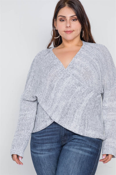 Plus Size Grey Heather Cross-front Knit Sweater - dress4less.com