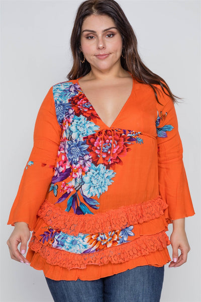 Boho Papaya Plus Size Floral Mix Print Lace Ruffle Hem Top - dress4less.com