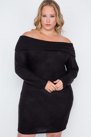 Plus Size Black Off-the Shoulder Long Sleeve Dress - dress4less.com