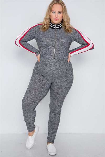 Plus Size Grey Heathered Color Block Jumpsuit - dress4less.com