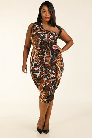 Leopard Around The Neck Sleeveless Bodycon Dress - dress4less.com
