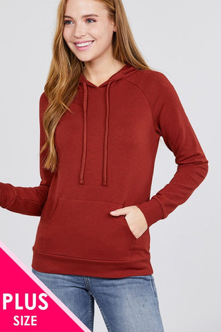 Long Sleeve Pullover French Terry Hoodie Top W/ Kangaroo Pocket - dress4less.com