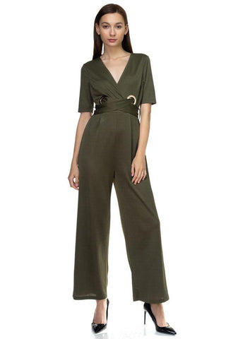Grommets Belted Jumpsuit - dress4less.com