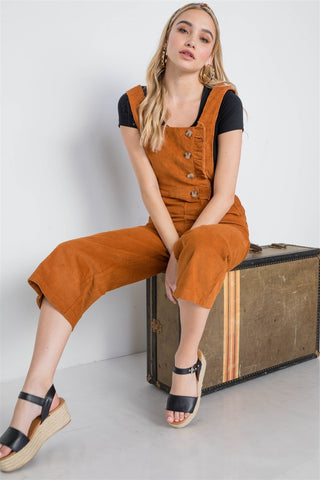 Camel Corduroy Button Front Ankle Length Overall - dress4less.com