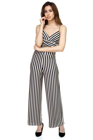 Stripe Front Twist Jumpsuit - dress4less.com