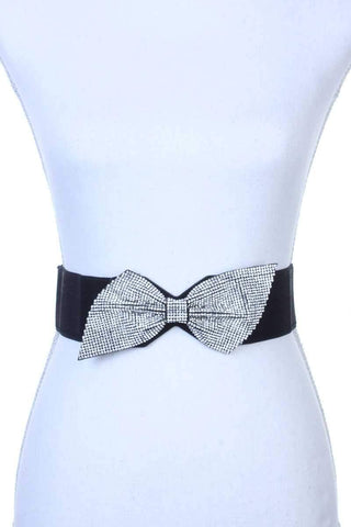 Rhinestone Bow Elastic Belt - dress4less.com