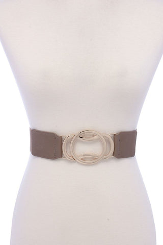 Circle Metal Buckle Pu Leather Elastic Belt - dress4less.com