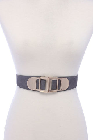 Metal Buckle Pu Leather Elastic Belt - dress4less.com