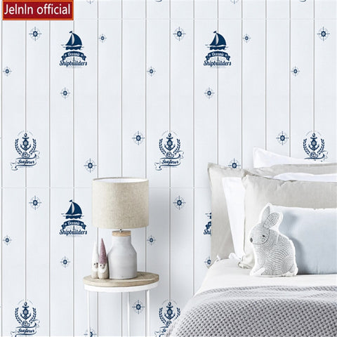 Children's room wallpaper self-adhesive  wall stickers cartoon bedroom sailing wood grain creative foam anti-collision  stickers
