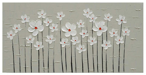 Hand painted Canvas Wall Art White Flower Modern Abstract Flowers Painting Floral Bloosom Pictures for Bathroom Bedroom