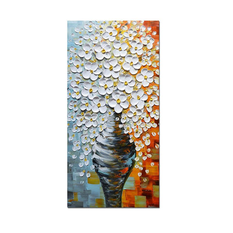 Large Hand Painted Flowers Canvas Oil Paintings Vase Vertical Wall Art Abstract Wall Paintings for Living Room Bedroom Pictures