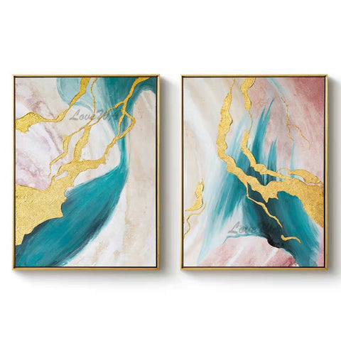 Newest Hand-painted Group Painting Canvas Wall Art Modern Wall Picture 2 Pieces Wall Art For Living Room Dining Room Decoration
