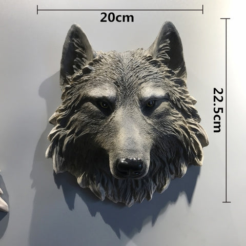 Nordic Wolf Lion Leopard Bear Head Figurine Wall Decor 3D Animal Head Resin Art Sculpture Home Wall Hanging Decoration R2702