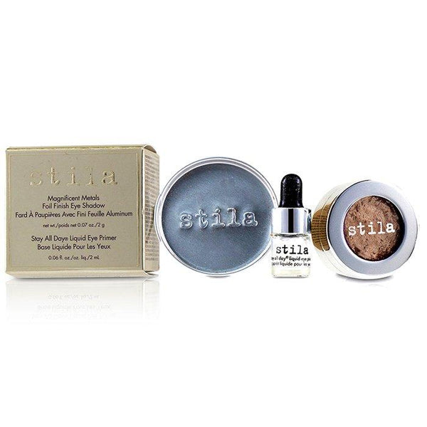 Magnificent Metals Foil Finish Eye Shadow With Mini Stay All Day Liquid Eye Primer - Metallic Kitten - 2pcs