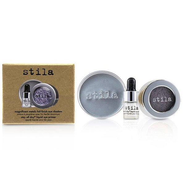 Magnificent Metals Foil Finish Eye Shadow With Mini Stay All Day Liquid Eye Primer - Metallic Lavender - 2pcs