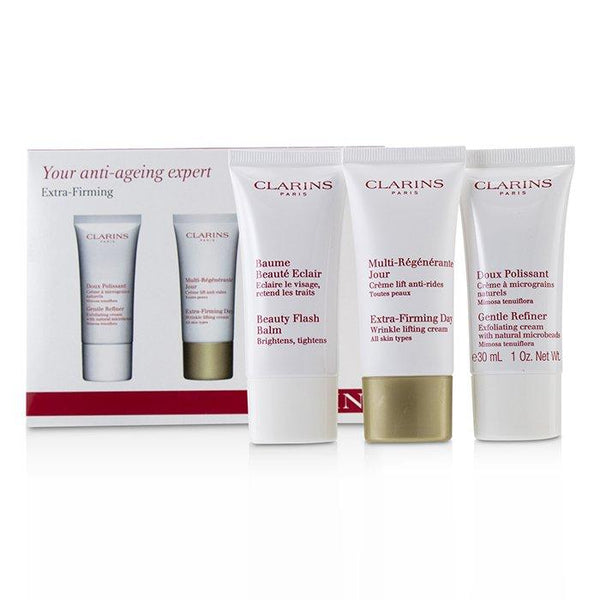 Extra-Firming 40+ Anti-Ageing Skincare Set:Gentle Refiner 30ml +Extra-Firming Day Cream 30ml+ Beauty Flash Balm 30ml - 3pcs