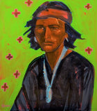 "Navajo Warrior in Green, 11"" X 14"" Print from an Oil Painting by Andrew Shows"